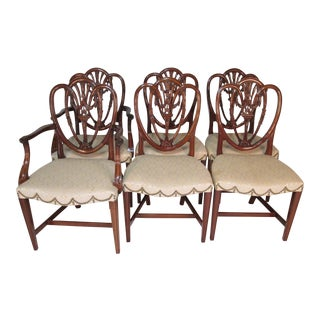 1940s Traditional Beacon Hill Shield Back Mahogany Dining Chairs - Set of 6 For Sale