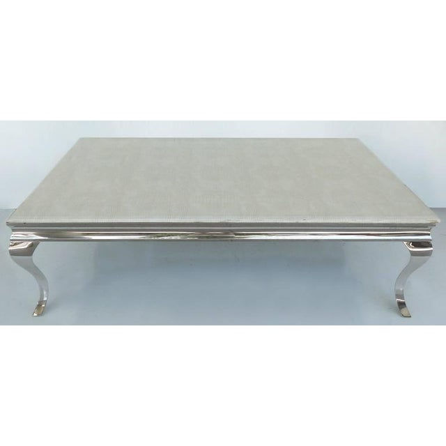 Modern 1980s Stainless Steel Cocktail Table with Lacquered Snakeskin Finish Marble Top For Sale - Image 3 of 9