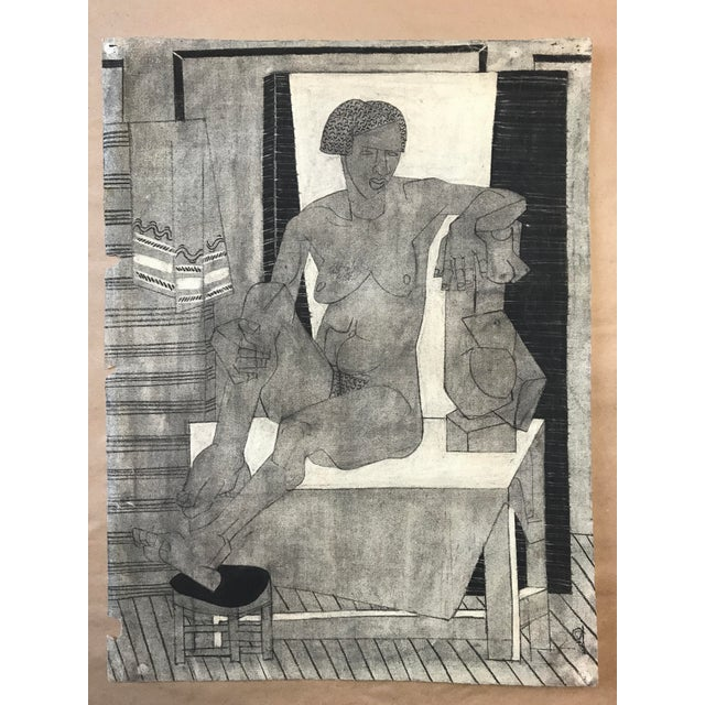 Gray 1929 Cubist Charcoal Nude Drawing For Sale - Image 8 of 9