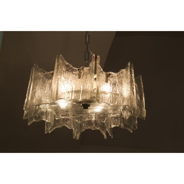 Mid-Century Modern Glass chandelier by JT Kalmar For Sale - Image 3 of 11