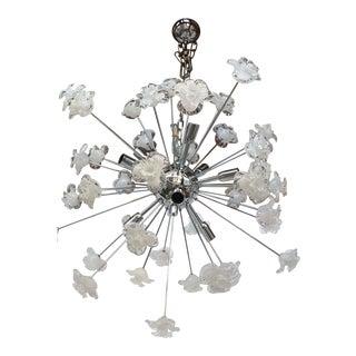 Sputnik White & Transparent Murano Glass Flowers Chandelier From Italian Light Design For Sale