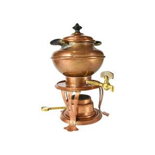 Antique Jos Heinrichs Paris New York Copper Hot Water Kettle Samovar With Burner Base For Sale