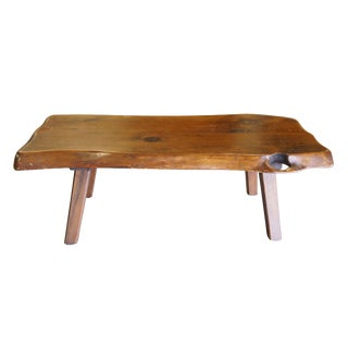 1965 Mid Century Modern Distressed Pine Slab Free Form Coffee Table For Sale