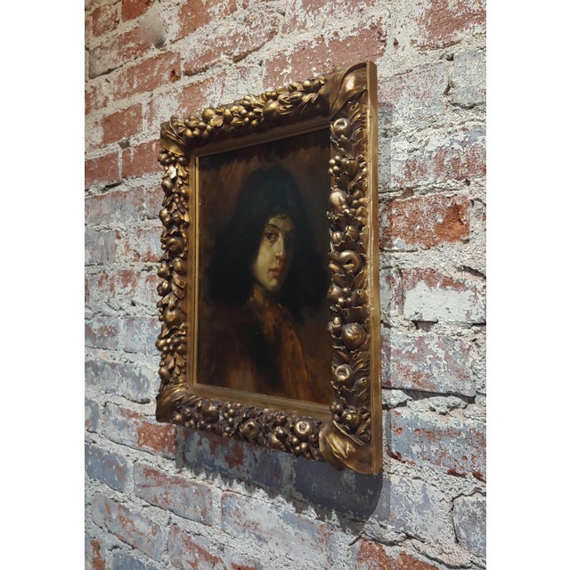 1900 - 1909 German School-Portrait of a Good-Looking Man-Oil Painting-C1900s For Sale - Image 5 of 10
