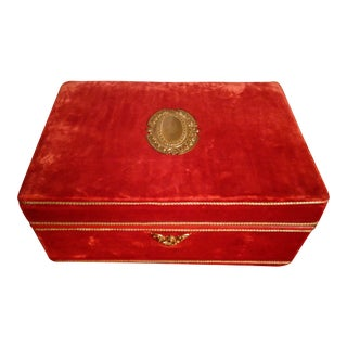 1970s Vintage Red Velvet Jewelry Box For Sale