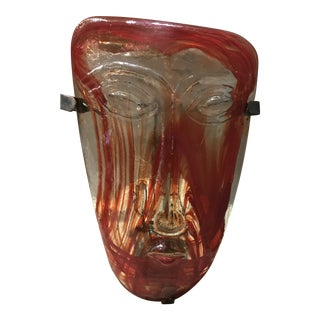 1960s Erik Hoglund Kosta Boda Red/Orange Swirl Art Glass Mask Candle Sconce For Sale