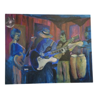 Vintage Jazz Scene Painting on Canvas by Dray For Sale