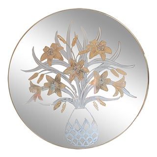1980s Tiger Lily Printed Round Brass Mirror For Sale