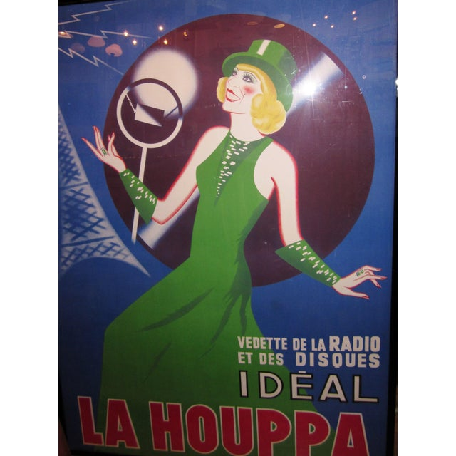 "Art Deco 1930s French Art Deco Original Lithograph Poster ""La Houppa"" French Actor & Songstress Radio Star 1930s Showgirl Figural Large Format Poster in Frame For Sale - Image 3 of 12"