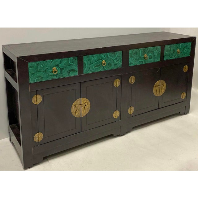 Modern Asian Style Credenza With Faux Malachite Accents by Henredon For Sale In Atlanta - Image 6 of 6