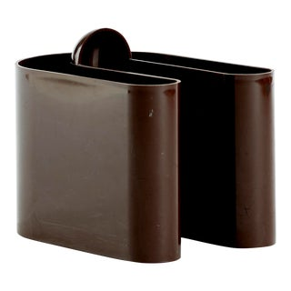 Brown Plastic Magazine Holder Designed by Rodolfo Bonetto For Sale
