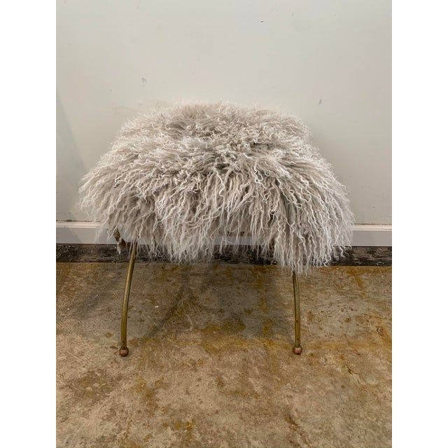 Mongolian Mohair Vintage Vanity Stool For Sale - Image 4 of 7