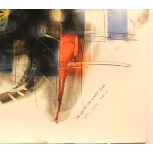"Wayne Zebzda Wayne Zebzda ""Dog Is a Carbon Smoke"" Pop Art Acrylic Painting on Paper For Sale - Image 4 of 7"