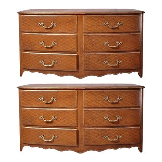 Pair of French Midcentury Leather Covered Chests of Drawers For Sale