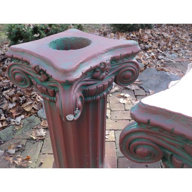 Stone Antique Painted Concrete Corinthian Columns - A Pair For Sale - Image 7 of 10