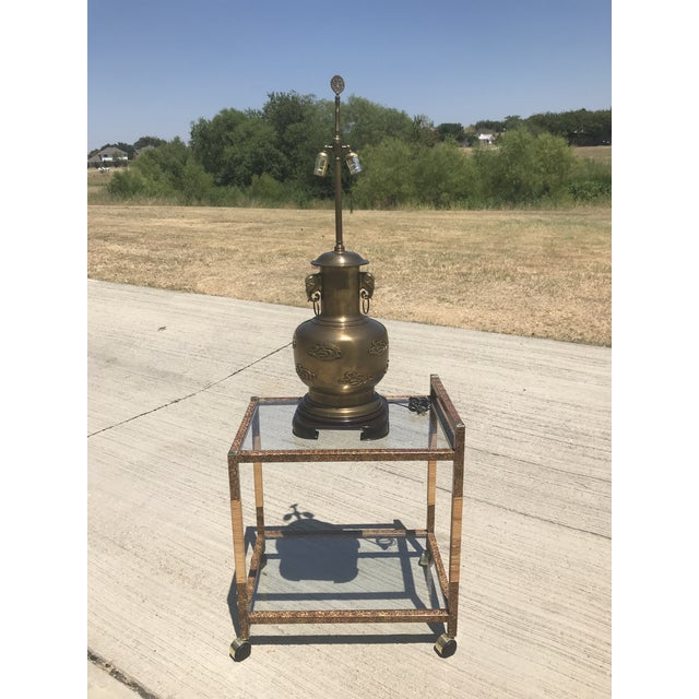 Asian 1960s Asian Antique Frederick Cooper Large Scale Brass Table Lamp For Sale - Image 3 of 13