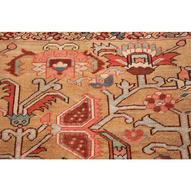Antique Heriz Persian Golden Background Rug - 9′2″ × 10′5″ For Sale - Image 10 of 11