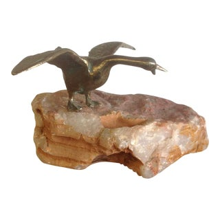 1972 Curtis Jere Bronze Bird on Stone For Sale