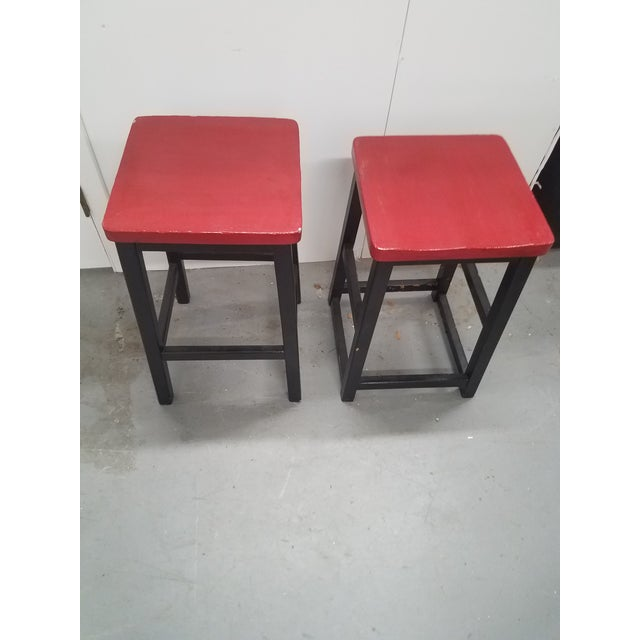 Two Vintage English Wooden Stools With Red Tops For Sale In Dallas - Image 6 of 13