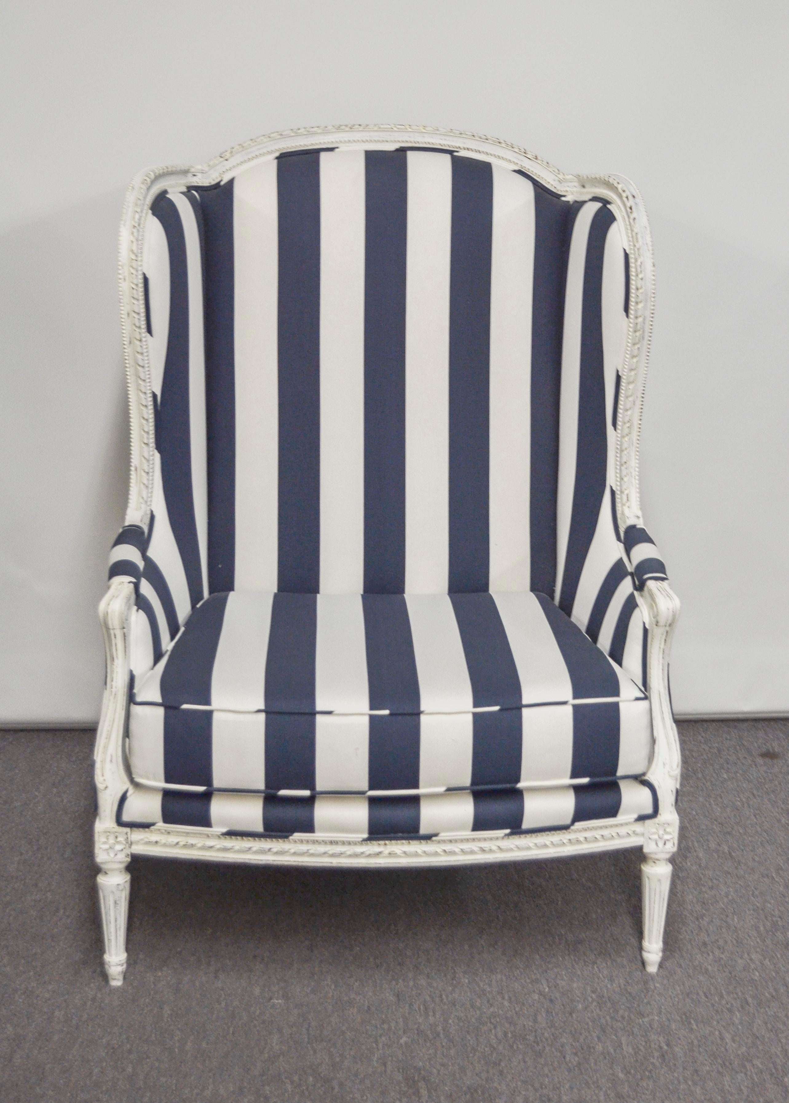 Cotton Nautical Wide Navy And White Stripe Wingback Chair For Sale   Image  7 Of 7