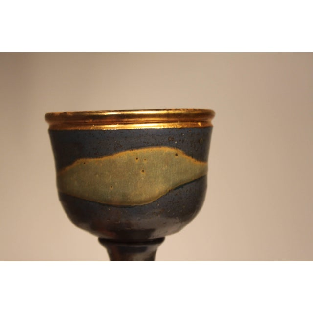 1960s Mid-Century Modern Master Potter Byron Temple Stoneware Chalice For Sale - Image 4 of 10