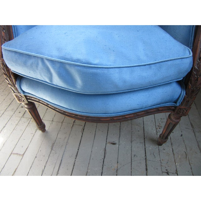 1940s Antique Petite French Blue Upholstery Carved Walnut Frame Fireside Chairs or Bergeres- a Pair For Sale - Image 9 of 13