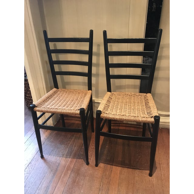 Lacquer Vintage Mid Century Gio Ponti Black Lacquer Woven Ladder Back Chairs-A Pair For Sale - Image 7 of 7