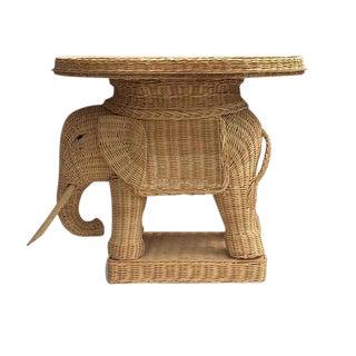 Vintage Rattan Elephant Table Garden Stool Side Table Tea Tray Table