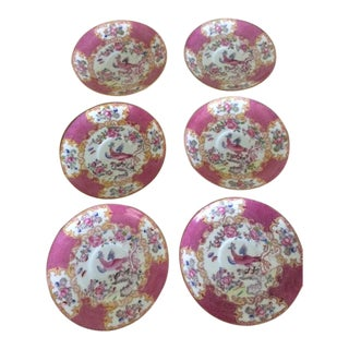 Antique Minton Chinoiserie Pink Pattern Saucers - Set of 6 For Sale