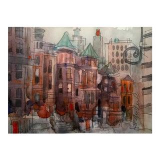Mr. Brownstone Watercolor For Sale