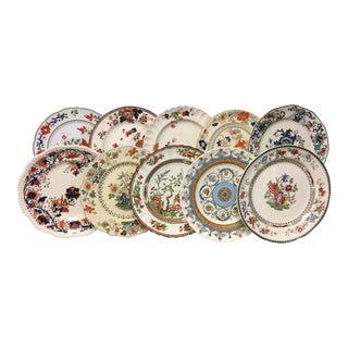 Orange & Blue Mixed Vintage Dinner Plates Set 10 For Sale