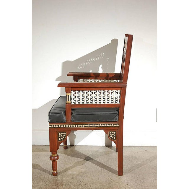 Islamic Pair of Moroccan Moorish Armchairs For Sale - Image 3 of 9