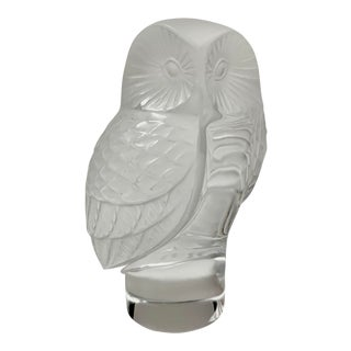 Lalique France Crystal Owl For Sale