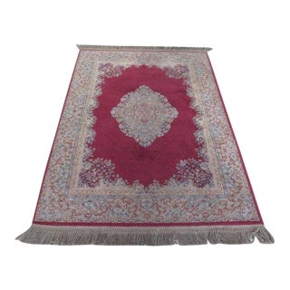 1980s Karastan Red Kirman Area Rug - 4′4″ × 6′9″ For Sale
