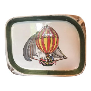 Italian Ceramic Hot Air Balloon Wall Plate For Sale
