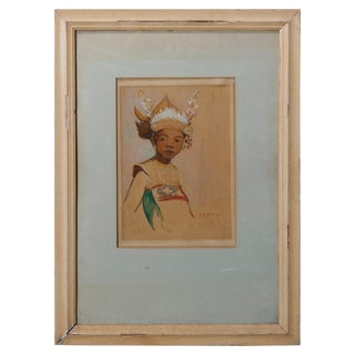 Antique Oil on Canvas Portrait Painting of a Tribal Princess by Hm Gordon For Sale