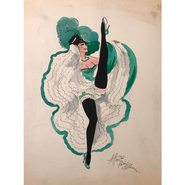 Painting og a Can Can Dancer in Green by Alice Huertas, painted mid-century.
