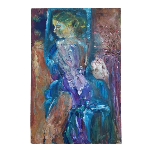 80's Abstract Nude Woman Painting For Sale