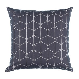 Contemporary Ferrick Mason Criss Cross Outdoor Charcoal Pillow For Sale