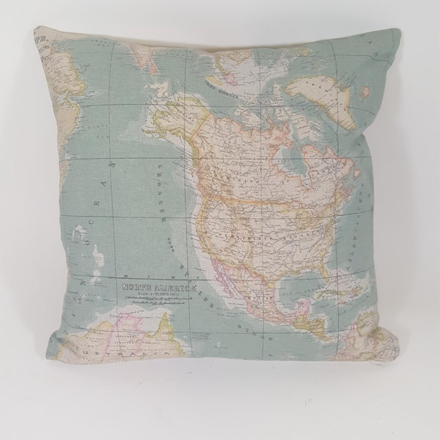 North America Map Square Pillow For Sale - Image 12 of 12