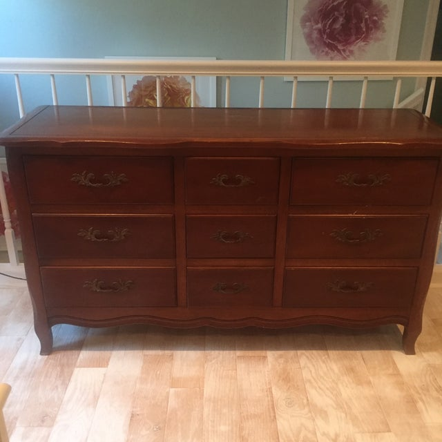 Vintage French Provincial Dresser with Mirror - Image 4 of 11