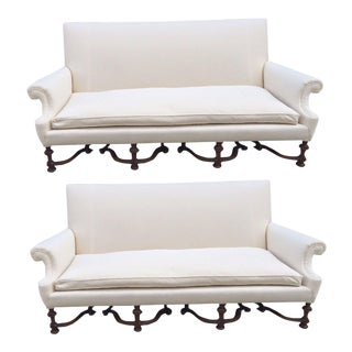 Pair of English High Back Antique Walnut Sofas in Linen For Sale