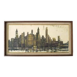 Vintage Mid-Century Modernist Bernard Buffet Cityscape Print For Sale