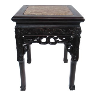 C.1910-1930s Vintage Asian Hand-Carved Clawfoot Side Table With Inset Marble Top For Sale