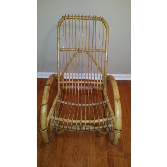 Franco Albini Style Rattan Rocking Chair - Image 3 of 5