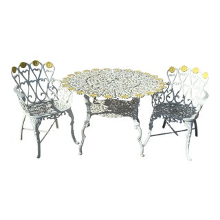 Ornate Victorian Style Heart & Daisy White Metal Patio Set- 3 Pieces For Sale