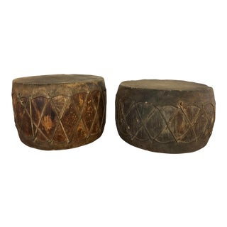 Japanese Antique Wood and Rawhide Taiko Drums - a Pair For Sale
