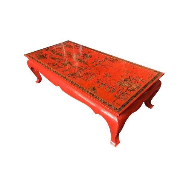 Chinese Red Lacquer & Gilt Low Coffee Table For Sale