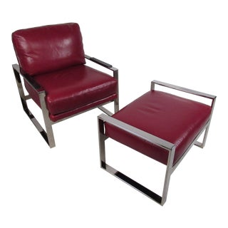 Mid-Century Modern Chrome and Leather Chair With Ottoman For Sale