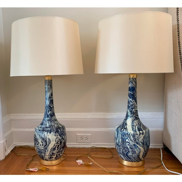 Blue Blue and White Table Lamps With Shades - a Pair For Sale - Image 8 of 8